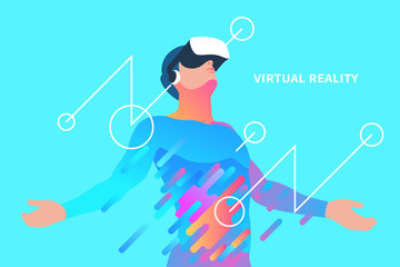 Enthusiastic man in virtual reality. Vector illustration