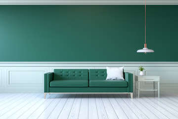 Vintage Green Room Minimalist Interior Sofa With Table And Lamp On Wall