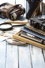 Retro Photo Frame vintage photo camera retro studio rustic wooden background