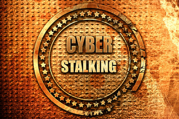 Cyber stalking background, 3D rendering, grunge metal stamp