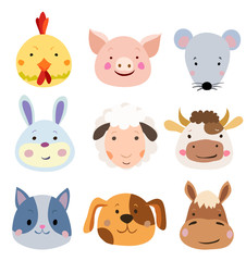 Vector Set of Cute Farm Animals and Pets Faces Isolated on White