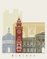 Fototapete - Bergamo skyline poster