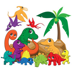 illustration of cute dinosaurs cartoon EPS10 File on white background