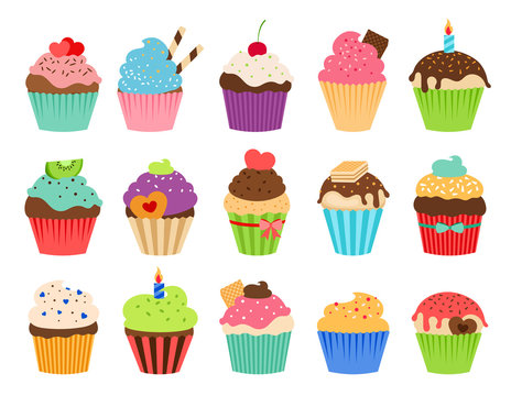 Cupcakes flat icons. Delicious birthday cupcake and wedding muffin vector collection isolated on white background