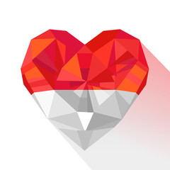 Vector crystal gem jewelry heart of  the Principality of Monaco.