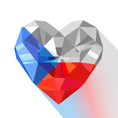 Vector crystal gem jewelry heart of the Czech Republic.
