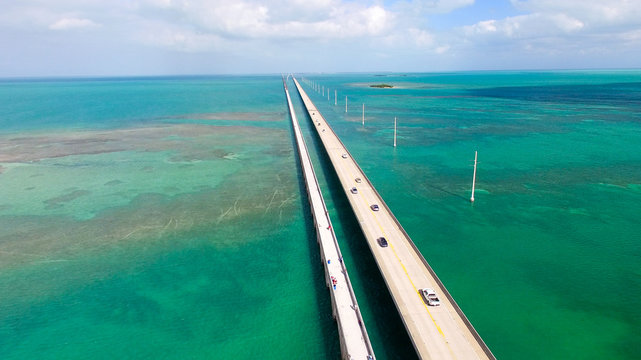 Bridge over Florida Keys, aerial view