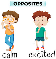 Opposite words for calm and excited