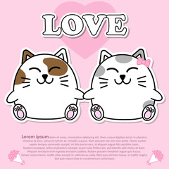 Lovely couple cute cat hold the hands together in Valentine and paper cut sticker concept