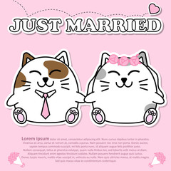 Lovely couple cute cat just married in Valentine and paper cut sticker concept