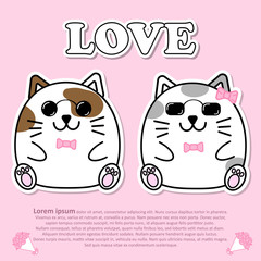Lovely couple cute cat wear sunglasses and pink bow tie in Valentine and paper cut sticker concept