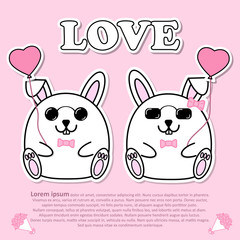 Lovely couple cute Rabbit with pink heart balloon and wear pink bow tie in Valentine and paper cut sticker concept