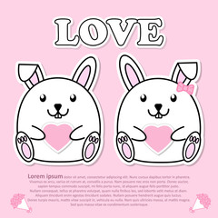 Lovely couple cute Rabbit with pink heart in hand for Valentine and paper cut sticker concept