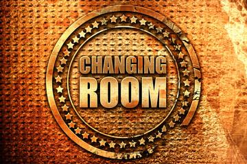 changing room, 3D rendering, grunge metal stamp