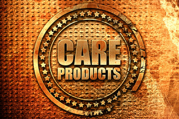 care products, 3D rendering, grunge metal stamp
