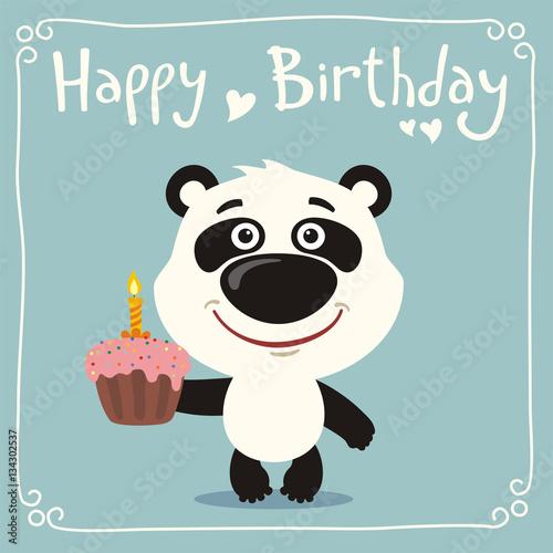 Happy birthday funny panda bear with birthday cake greeting card happy birthday funny panda bear with birthday cake greeting card with panda bear in bookmarktalkfo Choice Image