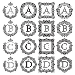 Vintage monograms set of A, B, C, D letter. Heraldic coats of arms in wreaths, round and square frames. Black symbols on white.