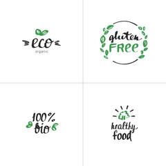 Hand drawn Eco lettering. Vector Bio organic green set.