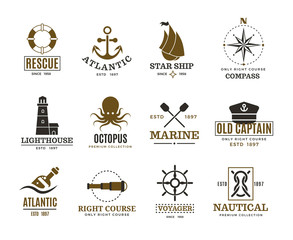 Vintage nautical, marine sailing, sea vessel vector labels, badges, logo
