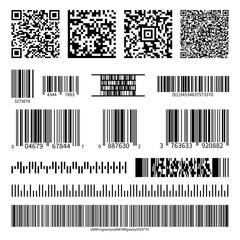 Business barcodes and QR codes vector set