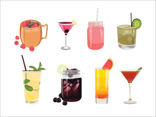 Cocktail drinks flat illustration set, for menu