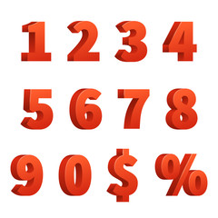 Red 3d numbers vector signs