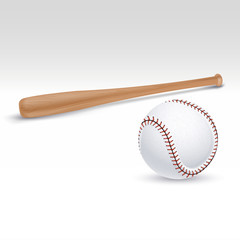 Baseball bat and ball vector illustration