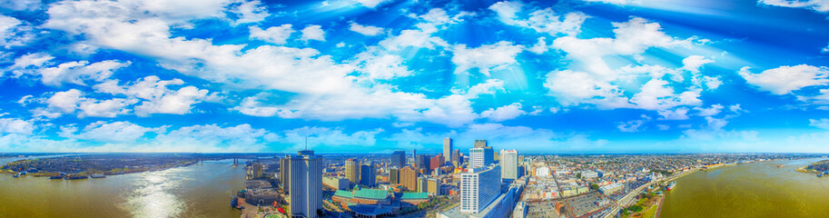 New Orleans, Louisiana. Amazing panoramic aerial view at sunset