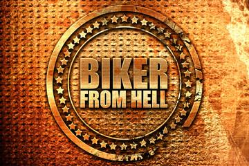biker from hell, 3D rendering, grunge metal stamp