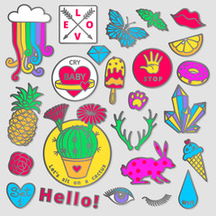 Fashion badge elements in cartoon 80s-90s comic style. Set modern trend doodle pop art sketch.