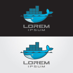 Vector image of a big whale with cargo. Whale logo.