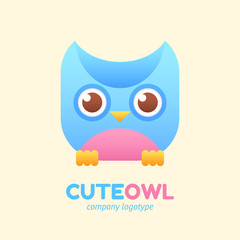 Cute owl logotype for children store company.