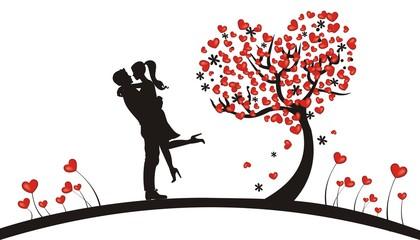verliebtes Paar mit Herzen
