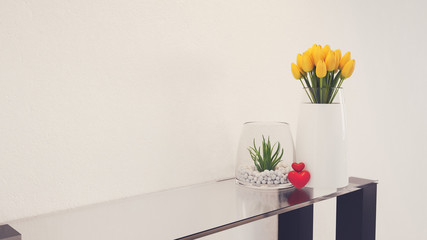 Flowers in a Glass With a modern layout.