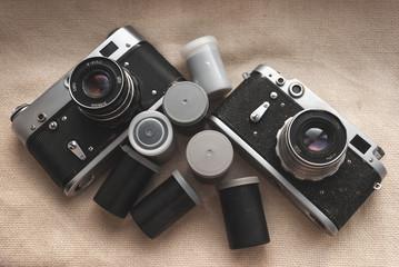 Old cameras, film