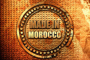 Made in morocco, 3D rendering, grunge metal stamp