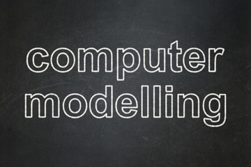 Science concept: Computer Modelling on chalkboard background