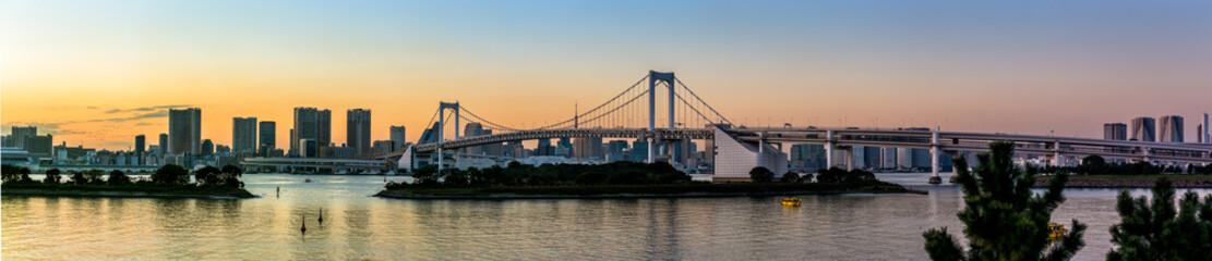 View of Tokyo city and Rainbow bridge from odaiba at sunset,Tokyo Japan
