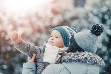 Family enjoying winter