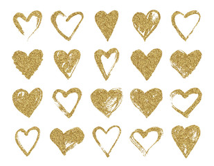 Valentine day gold glitter doodle hearts. Hand drawn hearts brushes for wedding and valentine cards.