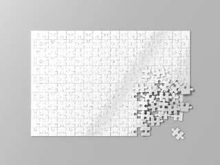 Blank white puzzles game mockup, connecting together, 3d rendering. Clear jigsaw pieces merging, design mock up. Big desktop toy template.