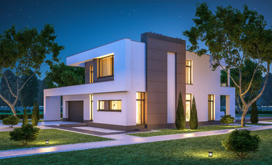 3d rendering of modern cozy house with garage for sale or rent w