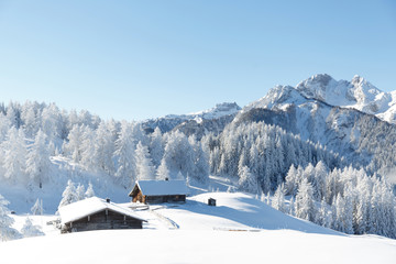 Fototapete - Amazing winter landscape in Austrian Alps