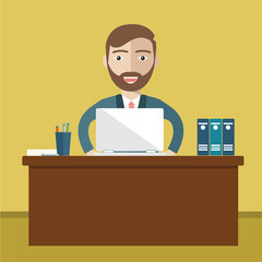 Business concept - Man sitting at the table and working on the computer in the office. Vector illustration, flat style.