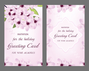 Set of wedding card. Decorative greeting card or invitation design with cherry flower. Vector illustration.