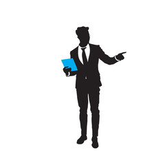 Silhouette Business Man Point Finger To Copy Space Isolated Over White Background Flat Vector Illustration