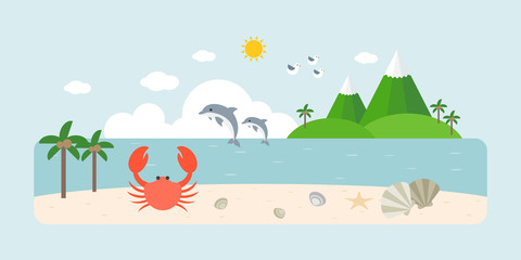Info graphic and elements of natural sea, beach and coastal landscapes, flat design vector illustration