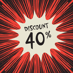 Comic explosion with text 40 percent discount