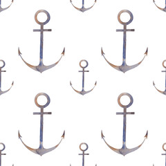 Nautical anchor seamless pattern. Hand painted repeating texture design with sea element on white background. Watercolor illustration