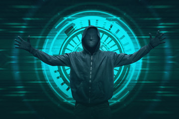Hooded hacker with anonymous mask expression